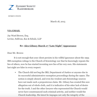 Letters Sent From The Church Counsel To Alex Gibney And HBO